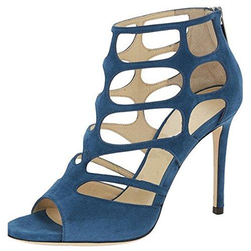 COOLCEPT Mujer Peep Toe Gladiator Tacon de Aguja Alto Hueco al Tobillo Verano Botas con Cremallera Blue