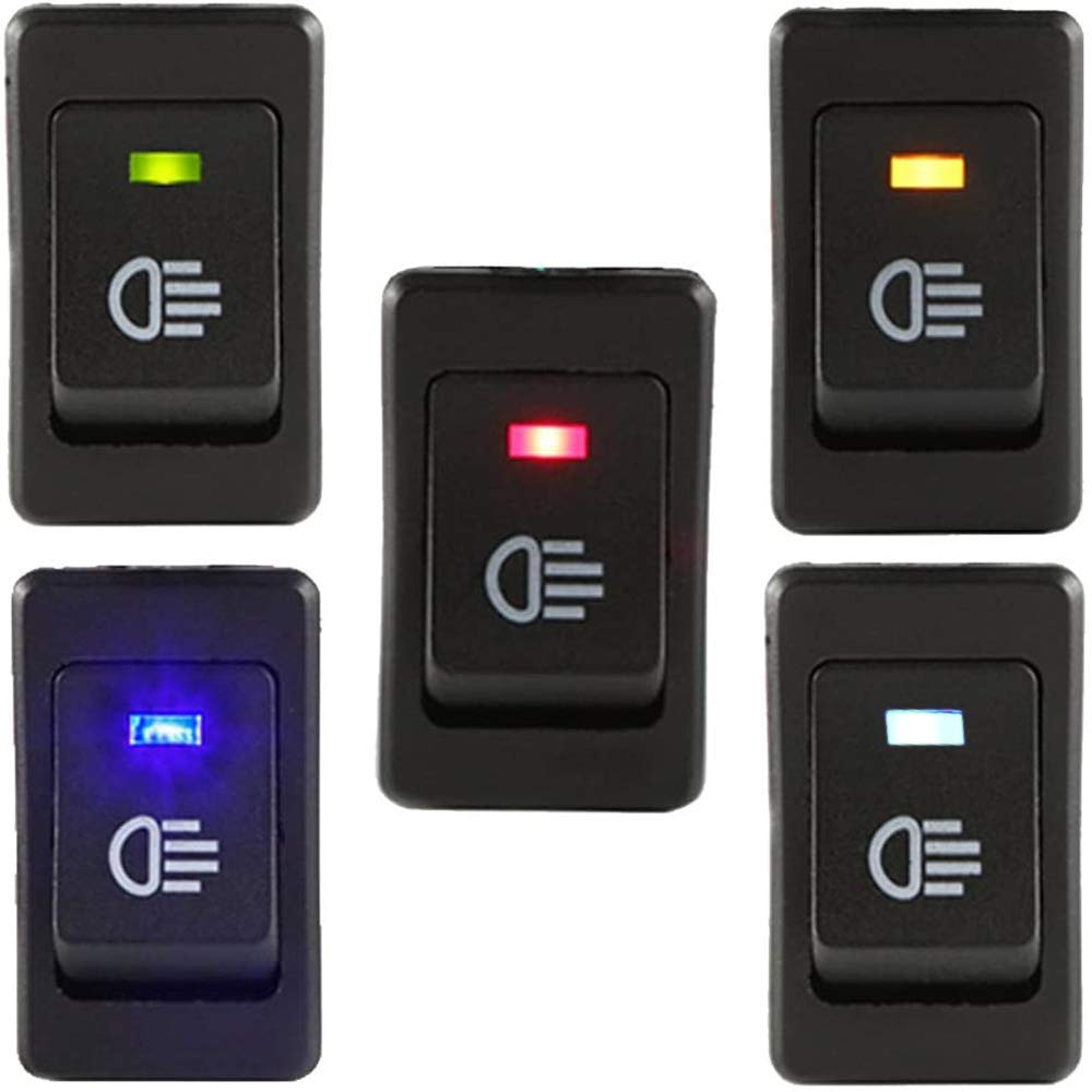 RUNCCI-YUN 5pcs 2VDC//35A automotive fog light switch ,12v rocker switch,LED Toggle Switches,On Off 4Pin Red Blue Green Yellow white 12v Switch Button