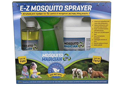 Cheap Mosquito Magician Battery Powered Sprayer Kit with 1 pint of Mosquito Killer & Repellent Concentrate, a Half-Gallon Container with Spray Nozzle & Batteries
