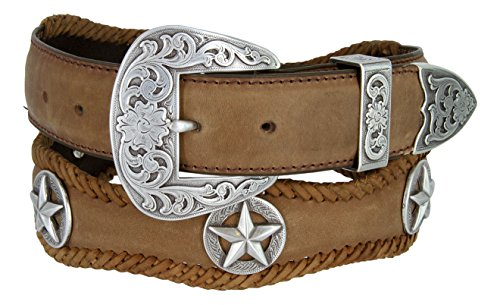 [Mens Austin Texas Stars Conchos Western Leather Scalloped Belt(Brown,34)] (Concho Western Leather)