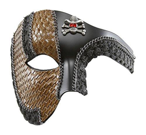 KAYSO INC The Pirate Victorian Steampunk Half Face Masquerade Mask (Matte Black) (Victorian Face Masks)