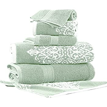 Amrapur Overseas | Artesia Damask 6 Piece Reversible Yarn Dyed Jacquard Towel Set (Sage)