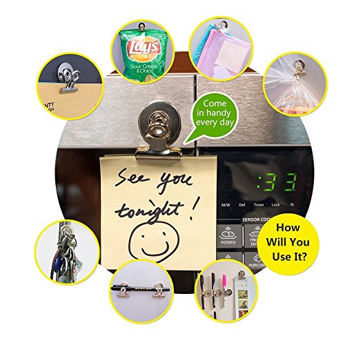 [UPGRADED] 8 Strong Refrigerator Magnet Hook Clips with Neodymium Magnet - 30mm Wide - Perfect Fridge Magnets Kitchen Magnets Calendar Magnets for House Office Personal Use, Silver