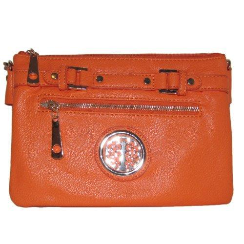 Belted Zipper Crossbody Handbag (Orange)