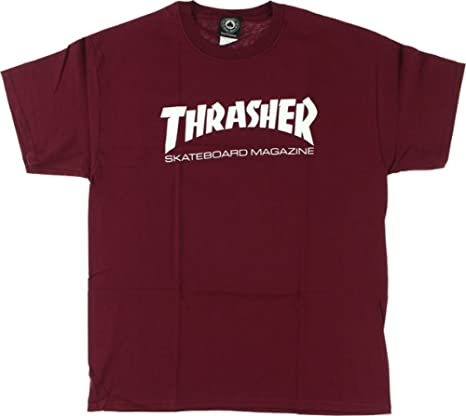 d25d4516 Image Unavailable. Image not available for. Color: Thrasher Magazine Skate  Mag Maroon Men's Short Sleeve T-Shirt ...