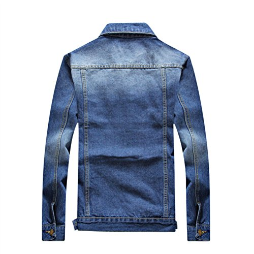 Mens Denim Washed Jacket Morbido Sleeve Classic E Stylish Blue Fit Confortevole Zhuhaitf Long Autumn Slim Tzqtt8