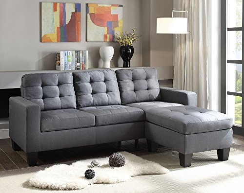 ACME Earsom Gray Linen Sectional Sofa with Reversible Ottoman (Sofa Acme Sectional Furniture)