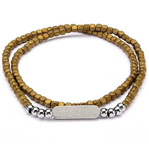 Olive Hematite Stone Double Wrap Mens Square Bead Bracelet