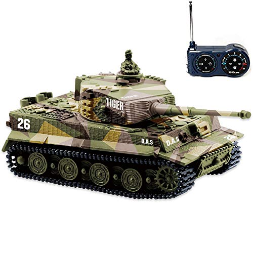 BlueFit German Tiger I Panzer Tank with Remote Control, Battery, Light, Sound, Rotating Turret and Recoil Action When Cannon Artillery Shoots, Mini 1:72 Scale, Assorted Color (Panzer Tank)