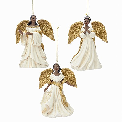 Kurt Adler IVORY AND GOLD AFRICAN AMERICAN ANGEL ORNAMENT - 3 ASSORTED