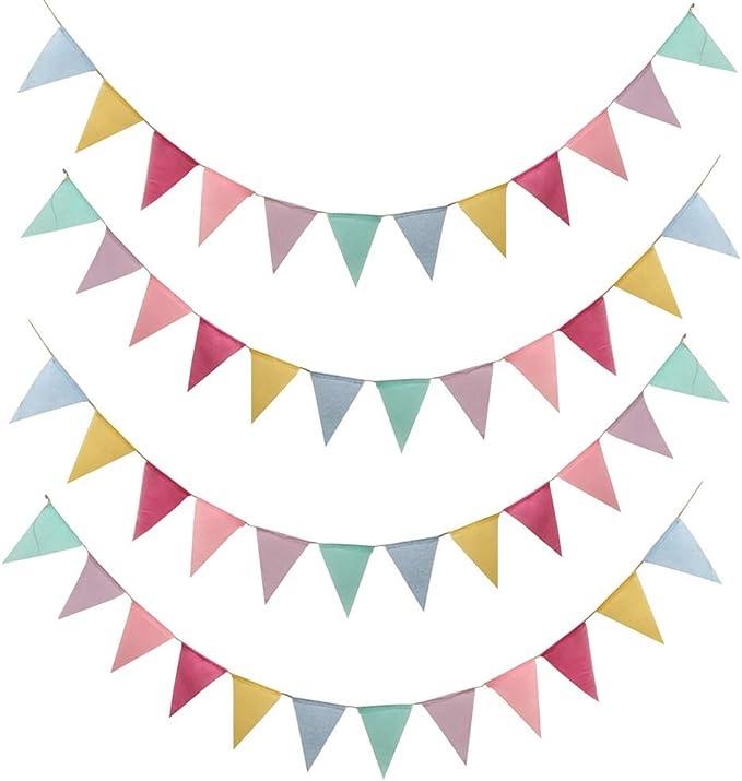 SERWOO 48pcs Guirnalda Banderas Banderines Arpillera de Imitación Pancarta Triángulo Multicolor Decoración Colgante de Boda Bautizo Fiesta Cumpleaños Navidad (4 Cadenas * 12 Banderas): Amazon.es: Juguetes y juegos