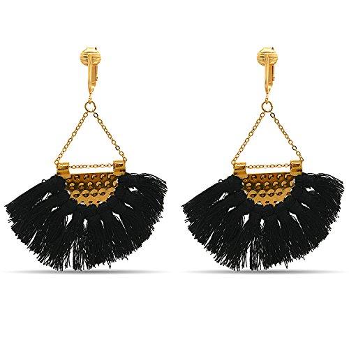 Clip Earring Shop-Clip On Tassel Earrings-Dangle Clip On Earrings Silk Tassel Long Clip On Earrings Bohemian (Black Art Deco Tassels)