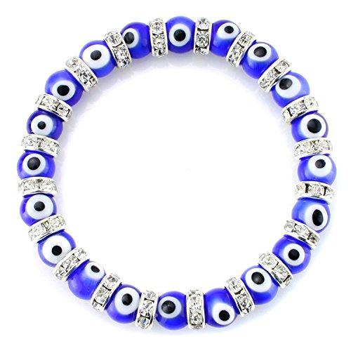 Turkish Evil Eye (JewelrieShop Turkish Evil Eye Bracelet Murano Glass Beads Beaded Clear Crystal Spacer Bracelet for Women Girls (8mm Blue Eye Beads))