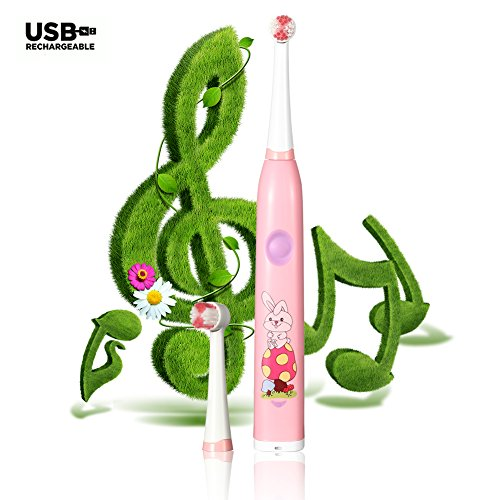 Kids Electric Toothbrush- Spinning Toothbrush- Music- Timer- Rechargeable- 2 Bristle Brush Heads- Interchangeable Decals (Pink)