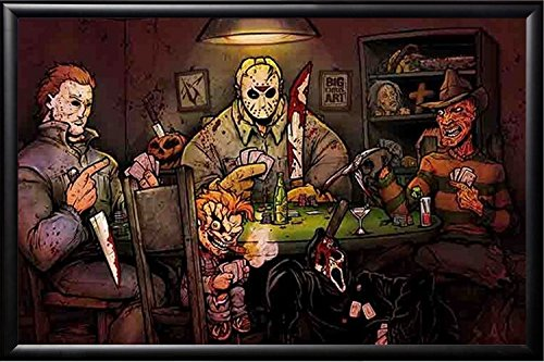 FRAMED Slashers Playing Poker 24x36 Poster in Real Wood Prem