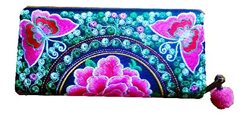 New Fashion Thai Handmade Wallet Hmong Hill Tribe Embroidered Women Purse Fabric Butterfly ()