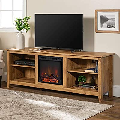 "WE Furniture Minimal Farmhouse Wood Fireplace Universal Stand for TV's up to 80"" Flat Screen Living Room Storage Shelves Entertainment Center, 70 Inch, Barnwood"