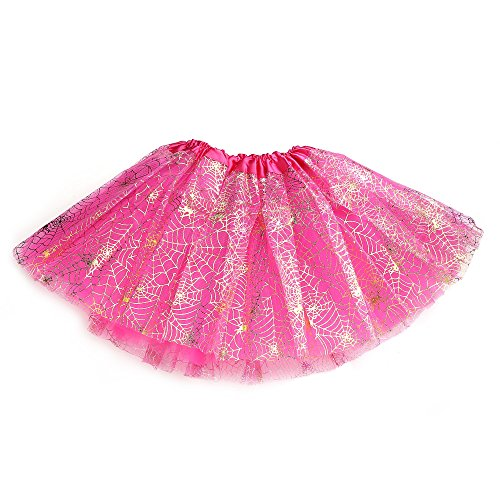 12' Black Dress - Anleolife 12''/ 3 Colors Spider Animal Print Tutu Skirt Birthday Halloween Tutu Girl Tutu Dress Set Ballet Dance Costumes (hot pink)