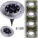Fheaven Solar Powered Light - 8 LED Solar Power Buried Light Ground Lamp Outdoor Path Way Garden Decking