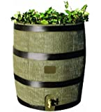 RTS Home Accents Round 35-Gallon Rain Barrel with Brass Spigot and Built-In Planter, Woodgrain