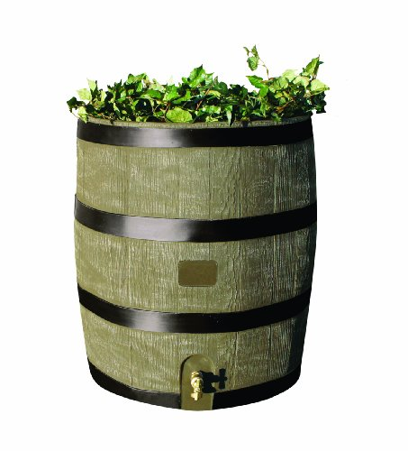 (RTS Home Accents Round 35-Gallon Rain Barrel with Brass Spigot and Built-In Planter, Woodgrain)