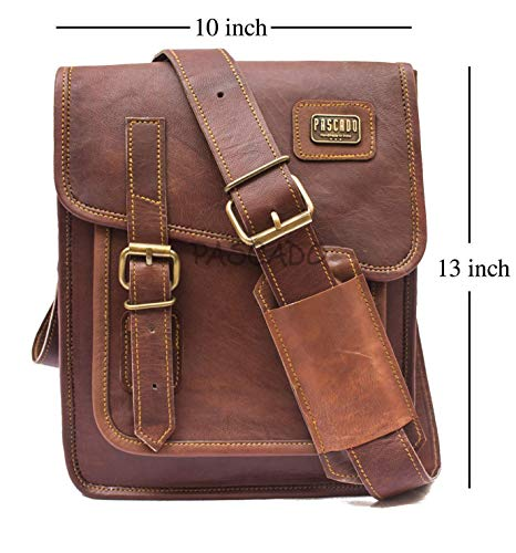 Pascado 13 inch genuine brown leather messenger shoulder crossbody purse ipad tablet bag mens womens