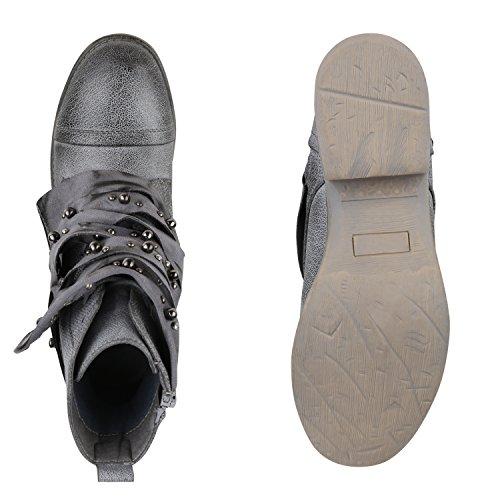 Stiefelparadies Damen Stiefeletten Biker Boots Nieten Cut Outs Leder-Optik Schuhe Flandell Creme Brito