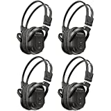 KeyAudio 2 Channel Folding IR Wireless Headphones for In Car DVD/TV Audio Video Rear Entertainment Systems includes 3.5mm Aux Cord - 4 Pack