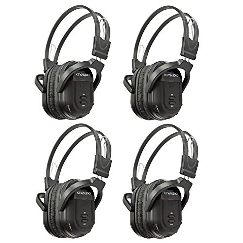 4 Pack of Two Channel Folding Universal Rear Entertainment System Infrared Headphones Wireless IR DVD Player Head Phones for in Car TV Video Audio Listening by Key Audio