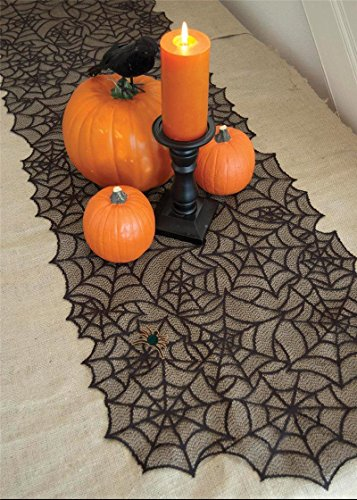 "Hixixi Black Lace Spider Web Bat Table Cover Tablecloth Halloween Party Room Decoration (20""x80"