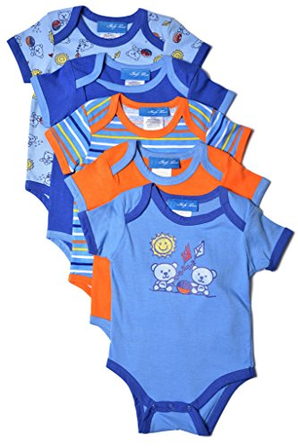 Baby-Boys-Bodysuits-Set-5-Pack-Snap-Up-Creepers-Short-Sleeve-Romper-3-9-mos