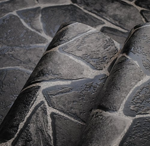 300cmX250cm Natural pvc black grey 3d stone wallpaper wall decorative for bar imitation textured faux stone wall paper waterproof bathroom by ZLJTYN
