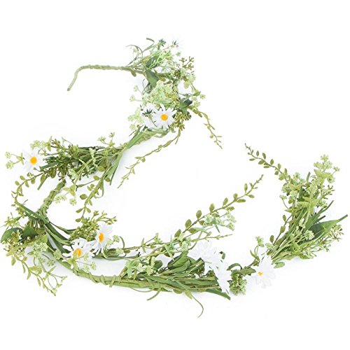 Artificial Meadow Fern and Fresh Daisy Floral Garland for...