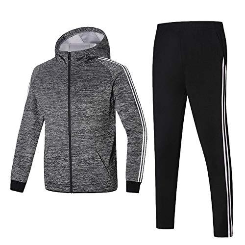 (GEEK LIGHTING Men's Athletic Tracksuit Set, 2 Piece Jacket & Pants Sports Casual Running Jogging Sweatsuit (Gray/Black, Large))