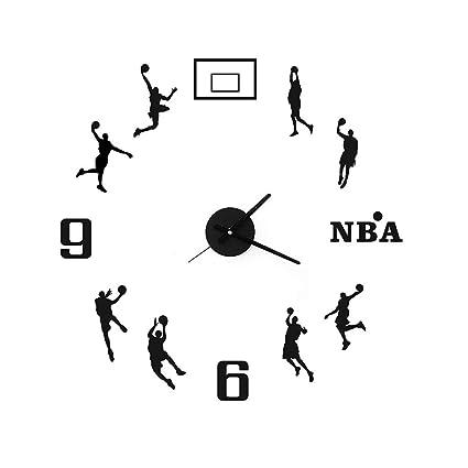 ZLZGZ Wall Clock DIY, 3D Sticker, Basketball Creative Wall Clock, Home Office Decoration