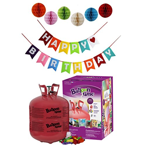 Balloon Time Disposable Helium Tank 14.9 cu.ft - 50 Balloons and Ribbon Included by Blue Ribbon + Pom Poms with colorful Happy Birthday Banner