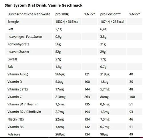 Slim System Diät Drink Vanille 1 X 440 G Amazonde Drogerie