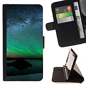 For Apple Iphone 5C Aurora Landscape Beautiful Print Wallet Leather Case Cover With Credit Card Slots And Stand Function