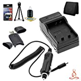 Halcyon Brand 600 mAH Charger with Car Charger Attachment Kit + Memory Card Wallet + SDHC Card USB Reader + Deluxe Starter Kit for Olympus Stylus 1010, Stylus 1020, Stylus 1030 SW, Stylus 9000, Stylus 9010, Tough 6000, Tough 6010, Tough 6020, Tough 8000,