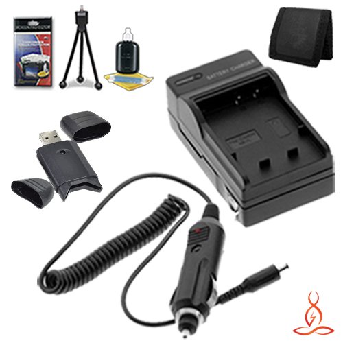 Halcyon Brand 600 mAH Charger with Car Charger Attachment Kit + Memory Card Wallet + SDHC Card USB Reader + Deluxe Starter Kit for Olympus Stylus 1010, Stylus 1020, Stylus 1030 SW, Stylus 9000, Stylus 9010, Tough 6000, Tough 6010, Tough 6020, Tough 8000,  by Halcyon