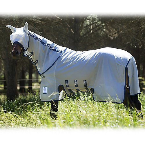 Amigo Bug Buster Vamoose Horse Fly Sheet with No-Fly Zone (84, Silver/Navy)