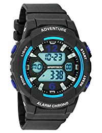 Unisex Watches by Sportech - Black and Mettallic Blue Active Digital Sport Watch - Make Every Second Count - SP12502