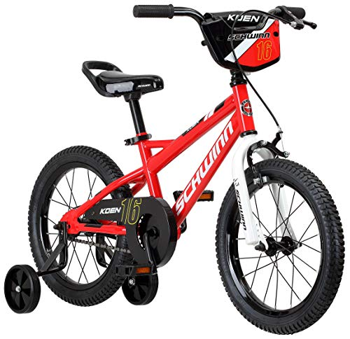 Schwinn Koen Boy's Sidewalk Bike with Training Wheels, Saddle Handle, Chainguard, and Number Plate, 16-Inch Wheels, Red, Featuring SmartStart Technology - Designed to Fit Children's Proportions (Best Road Saddle For Long Rides)