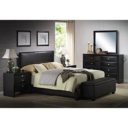 Amazon Com Queen Faux Leather Bed Black Headboard Footboard