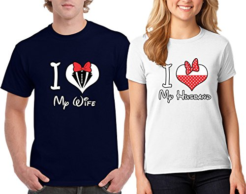 I Love My Wife Husband Couple Goal Valentine's Day Special T-Shirts Tee Shirts 1(Navy-White,Men-S/Women-S)
