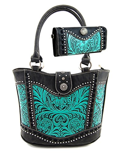 Montana West Trinity Ranch Tooled Leather Collection Purse Wallet Set, Western Tote Style (Black/Turquoise) by Montana West