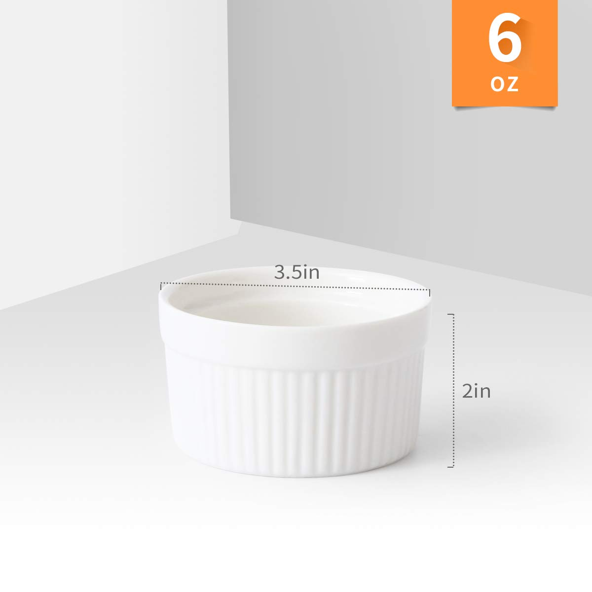 6 oz Ramekin Set of 8 Serving Bowl for Souffle Creme Brulee and Dipping Sauces Porcelain White by LAUCHUH (Image #1)