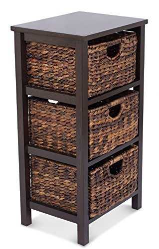 BirdRock Home Seagrass Cubby Dresser | 3 Drawer Bins | Decorative Wood Storage Cubbies Shelf Organizer | Industrial Furniture Chest Basket | Espresso by BirdRock Home
