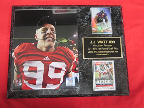 (J.J. Watt Wisconsin Badgers 2 Card Collector Plaque #2 w/8x10 Rose Bowl photo)
