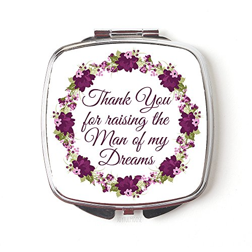 Thank You for Raising The Man of My Dreams Compact Mirror Floral Gift for Grooms - Mirror Plum